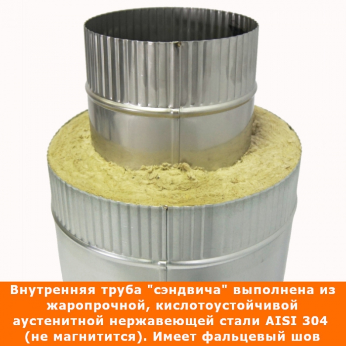 Труба с изоляцией 500 / 150/250 / 0,5 мм AISI 304/оцинк.