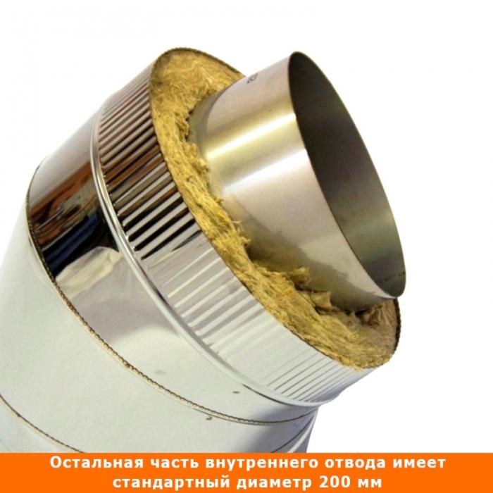 Отвод 45º с изоляцией 200/300 / 1 мм AISI 304/430