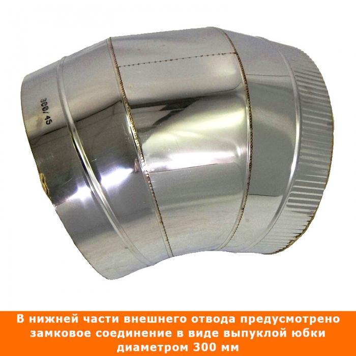 Отвод 45º с изоляцией 200/300 / 0,8 мм AISI 304/430