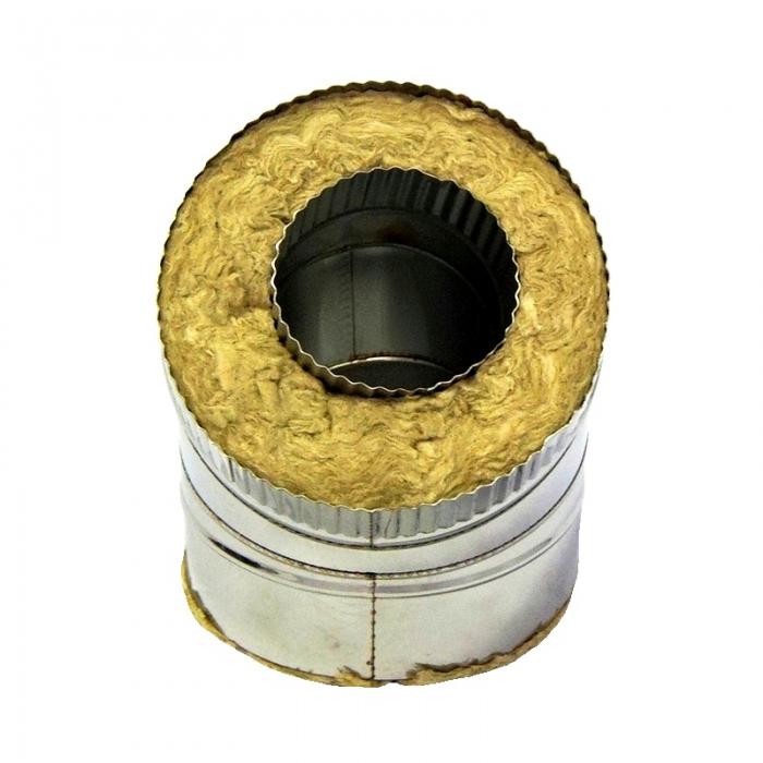 Отвод 45º с изоляцией 115/215 / 0,5 мм AISI 304/430