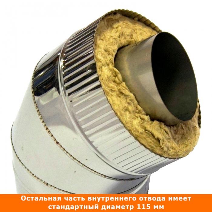 Отвод 45º с изоляцией 115/215 / 1 мм AISI 304/430