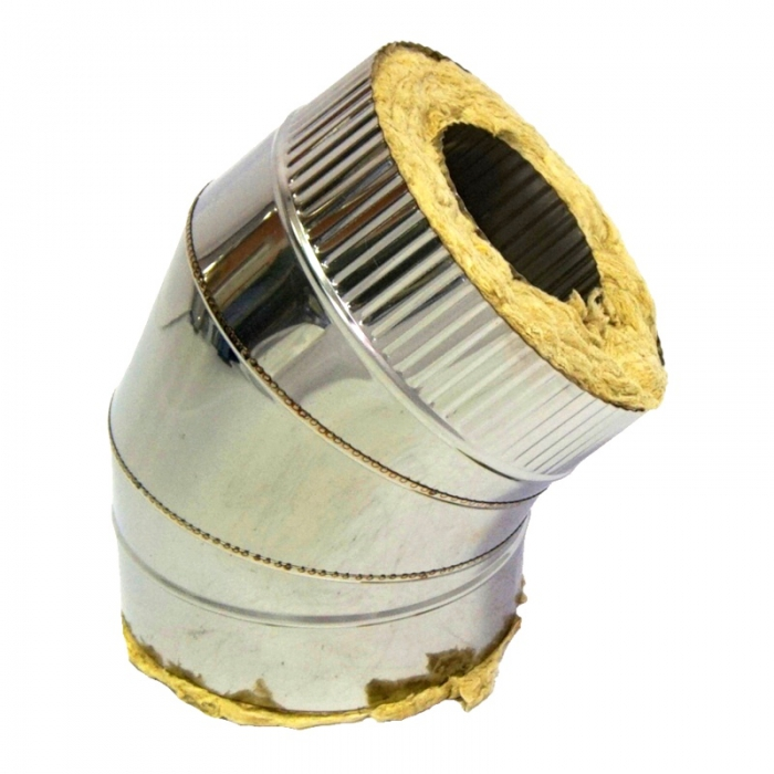 Отвод 45º с изоляцией 115/215 / 0,5 мм AISI 304/430 СШ