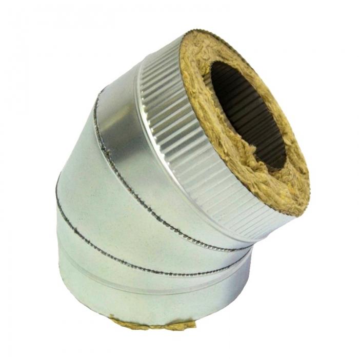 Отвод 45º с изоляцией 150/250 / 1 мм AISI 304/оцинк. СШ