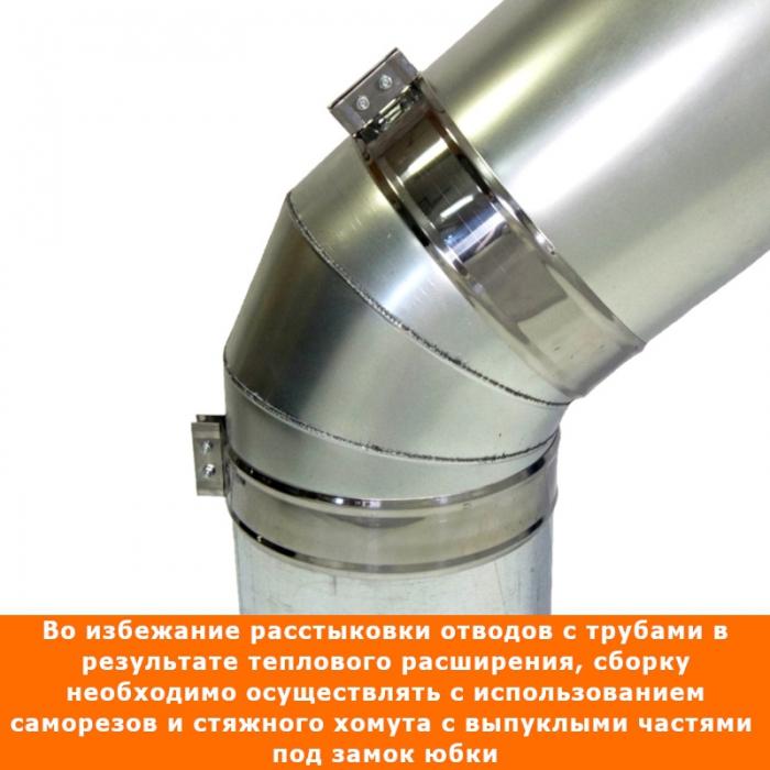 Отвод 45º с изоляцией 200/300 / 0,5 мм AISI 304/оцинк.