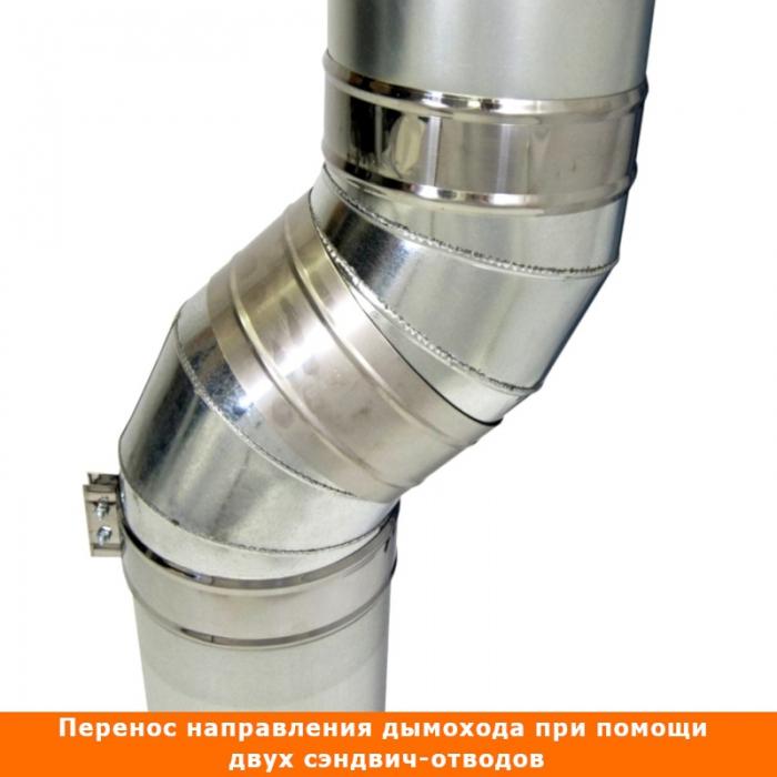 Отвод 45º с изоляцией 115/215 / 0,8 мм AISI 304/оцинк.
