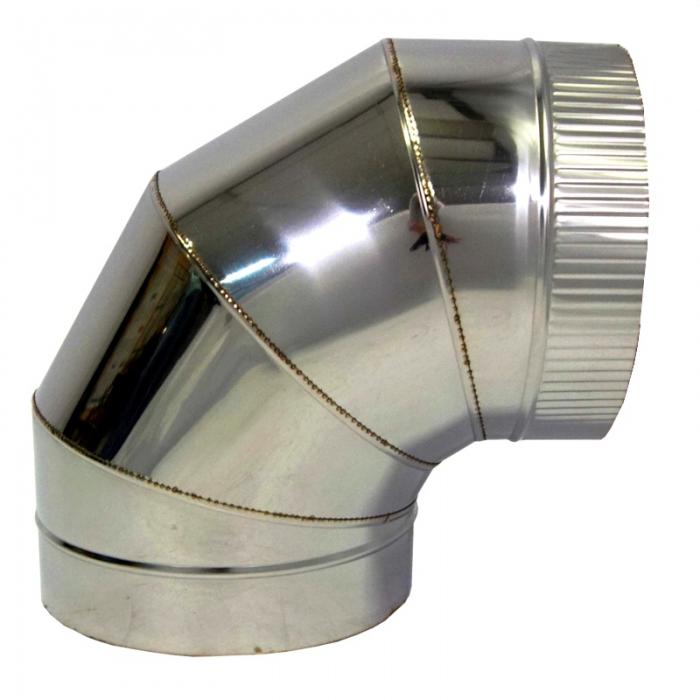 Отвод 90º с изоляцией 115/215 / 0,5 мм AISI 304/430