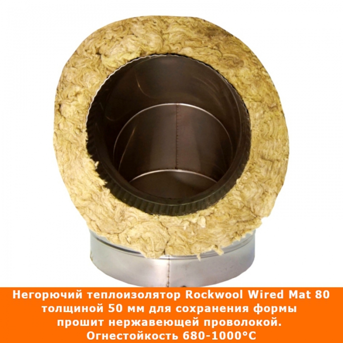 Отвод 90º с изоляцией 200/300 / 0,8 мм AISI 304/430