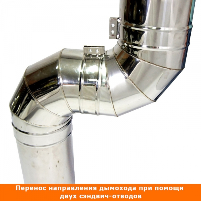 Отвод 90º с изоляцией 150/250 / 0,5 мм AISI 304/430