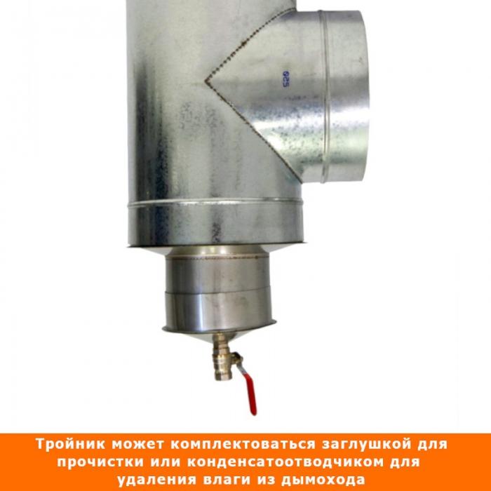 Тройник с изоляцией 90º 150/250 / 0,8 мм AISI 304/оцинк. СШ