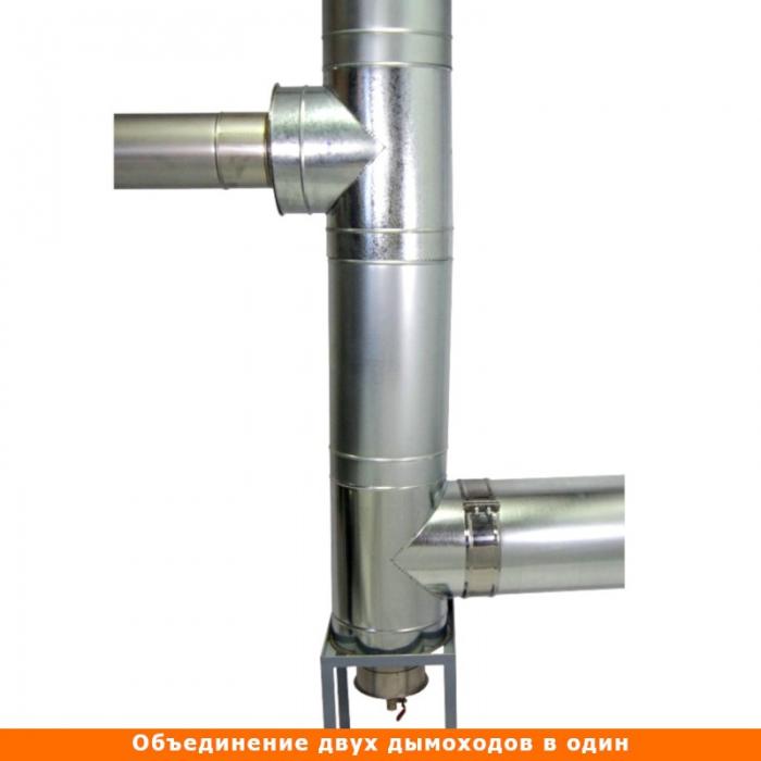 Тройник с изоляцией 90º 150/250 / 0,8 мм AISI 304/оцинк.