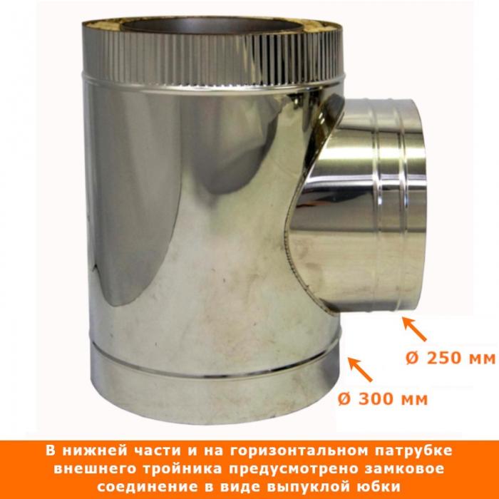 Тройник с изоляцией 90º 200/300 + 150/250/ 2 мм AISI 430/430