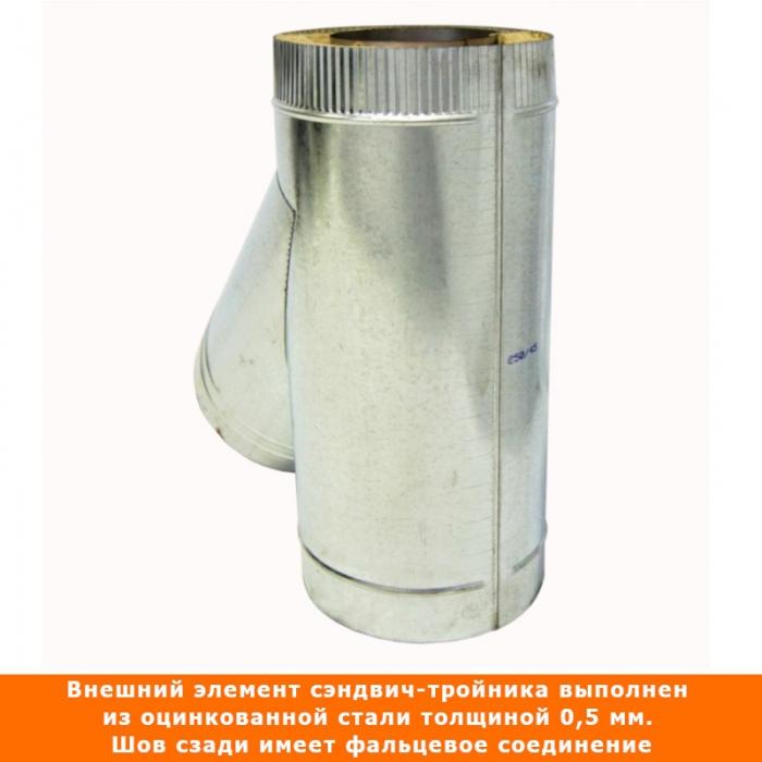 Тройник с изоляцией 45º 150/250 / 1 мм AISI 304/оцинк.