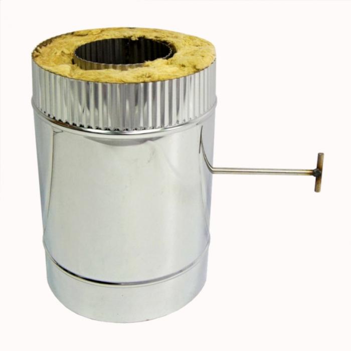 Шибер поворотный с изоляцией по дыму 115/215 / 1,0 мм AISI 304/430