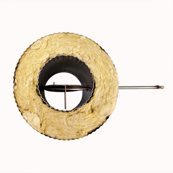 Шибер поворотный с изоляцией по дыму 115/215 / 0,8 мм AISI 304/430