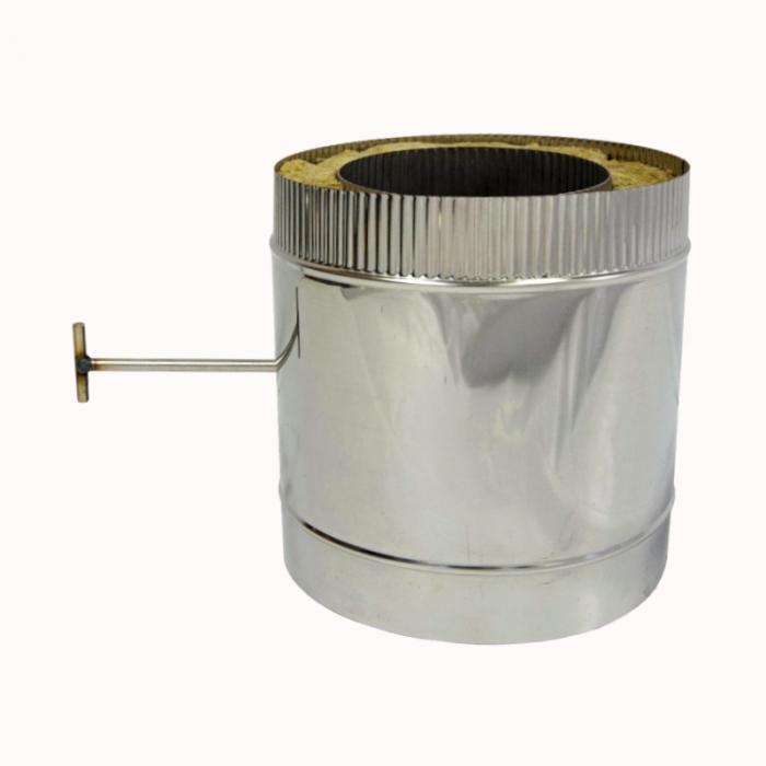 Шибер поворотный с изоляцией по дыму 200/300 / 0,8 мм AISI 304/430