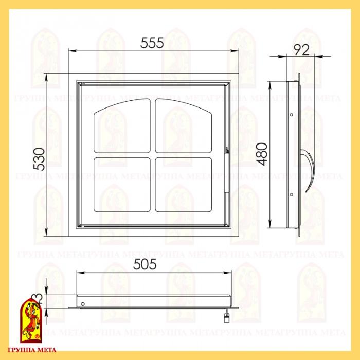 Каминная дверца ДК 555-1К