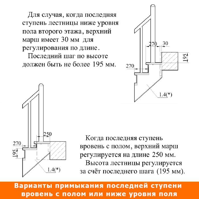 Лестница К-001 (2-8)-14 левая Р-46