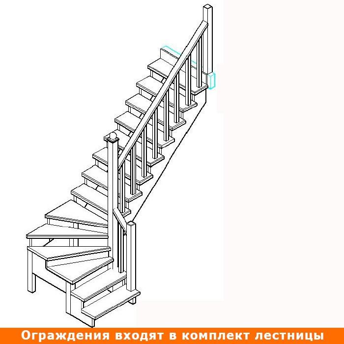 Лестница К-001 (2-8)-14 левая Р-521