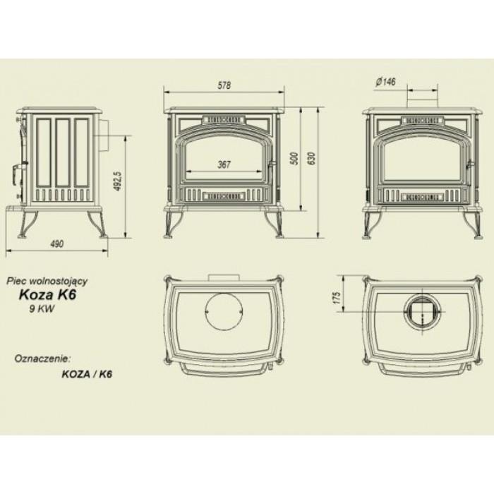 """Чугунный печь-камин """"Koza K6"""""""
