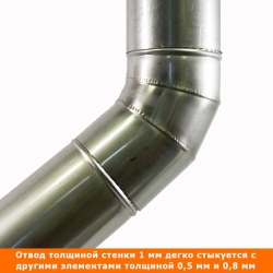 Отвод 45º без изоляции 115 / 1 мм AISI 304