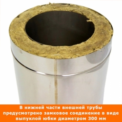 Труба с изоляцией 1000 / 200/300 / 0,8 мм AISI 304/430 СШ