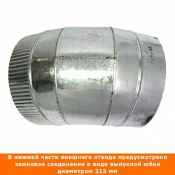 Отвод 45º с изоляцией 115/215 / 1 мм AISI 304/оцинк.