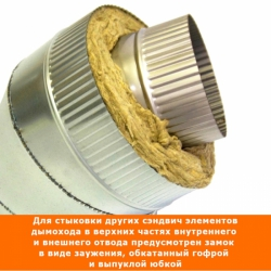 Отвод 45º с изоляцией 150/250 / 1 мм AISI 304/оцинк.