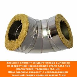 Отвод 90º с изоляцией 150/250 / 0,8 мм AISI 304/430