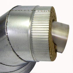 Отвод 90º с изоляцией 115/215 / 1 мм AISI 304/оцинк.