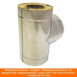 Тройник  с изоляцией 90º 115/215 / 0,5 мм AISI 304/430 СШ