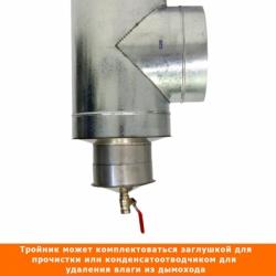 Тройник с изоляцией 90º 150/250 / 0,5 мм AISI 304/оцинк.