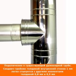 Тройник с изоляцией 90º 200/300 / 1 мм AISI 304/430