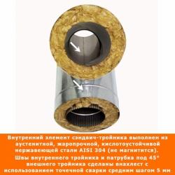 Тройник с изоляцией 45º 150/250 / 0,5 мм AISI 304/оцинк.