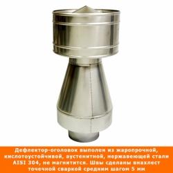 Дефлектор-оголовок 120/215 мм AISI 304