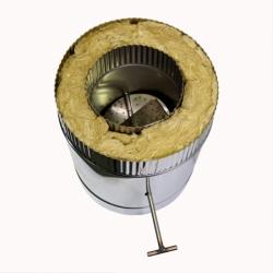 Шибер поворотный с изоляцией по дыму 150/250 / 1,0 мм AISI 304/430