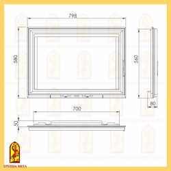 Каминная дверца ДК 800-1С (Камилла 800)